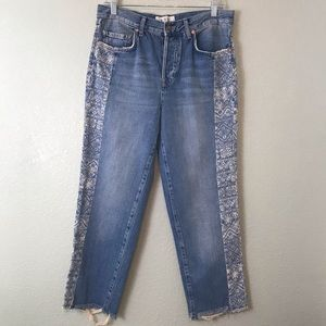 Free People Cropped Raw Hem Jeans W Lace Stencil